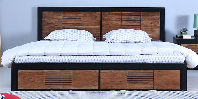 Deux Solidwood King Bed with  Box Storage in Dual Tone Finish by Woodsworth