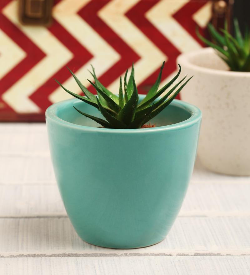 Blue Ceramic Table Top Planter by Decardo