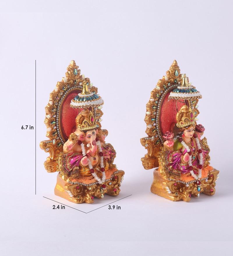 Buy Multicolour Clay Lakshmi Amp Ganesha Idol By Decardo Online Lakshmi Ganesh Curios