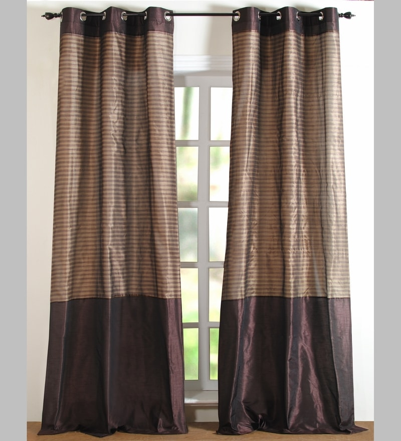 Brown Polyester 84 x 48 Inch Stripe Band Door Curtain - Set of 2 by Deco Essential