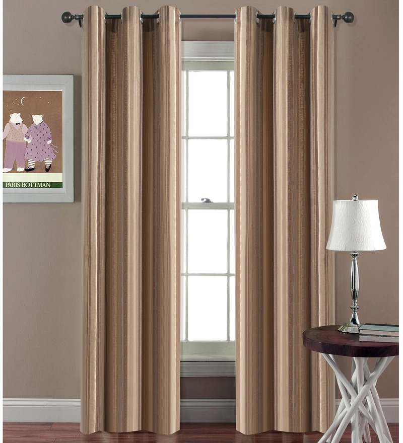 Mystique Brow Polyester 46 x 90 Inch Jacquard Eyelet Door Curtain - Set Of 2 by Deco Essential