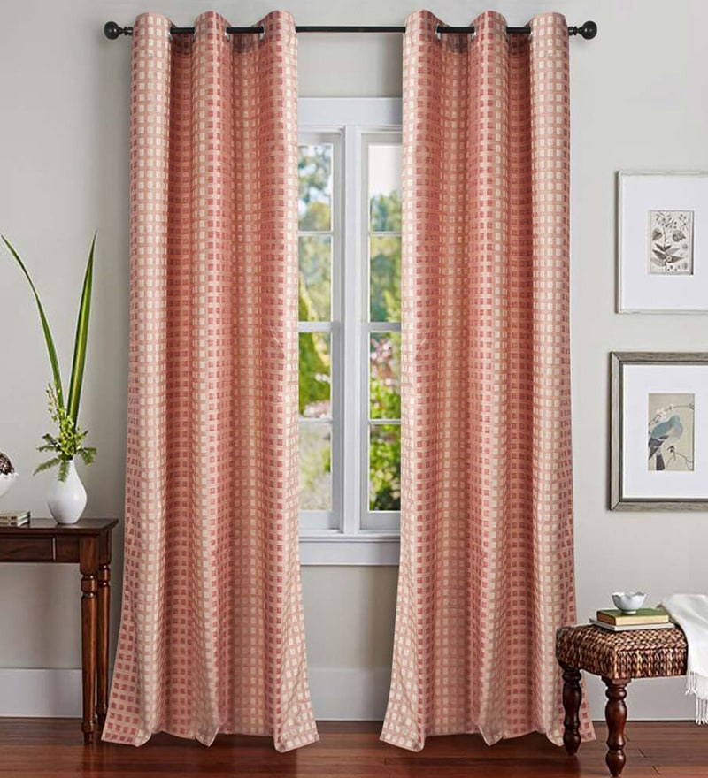 Red Polyester 46 x 90 Inch Jacquard Eyelet Door Curtain - Set of 2 by Deco Essential