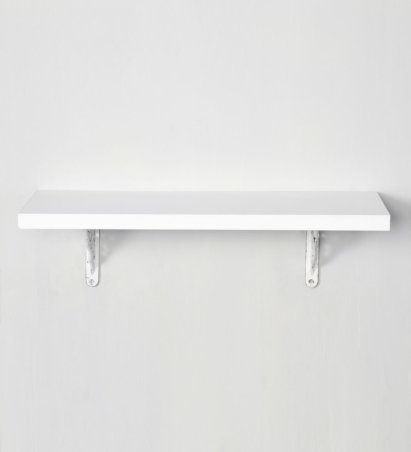 buy white solid wood aluminium wall shelf with brackets. Black Bedroom Furniture Sets. Home Design Ideas