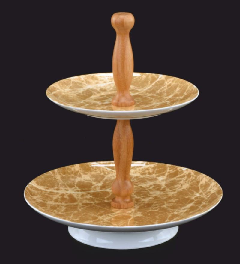 Deco Pride Wood & Ceramic 2 Tier Cake Tray