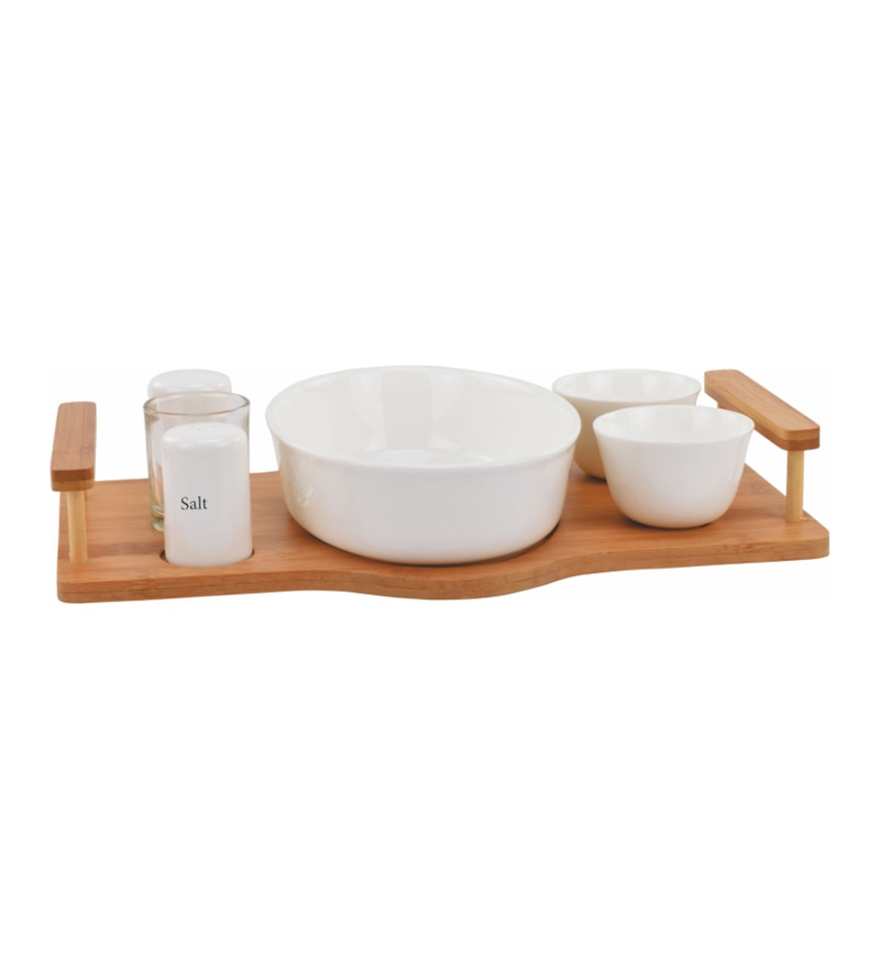 Deco Pride Wood & Ceramic Serving Set - Set of 7