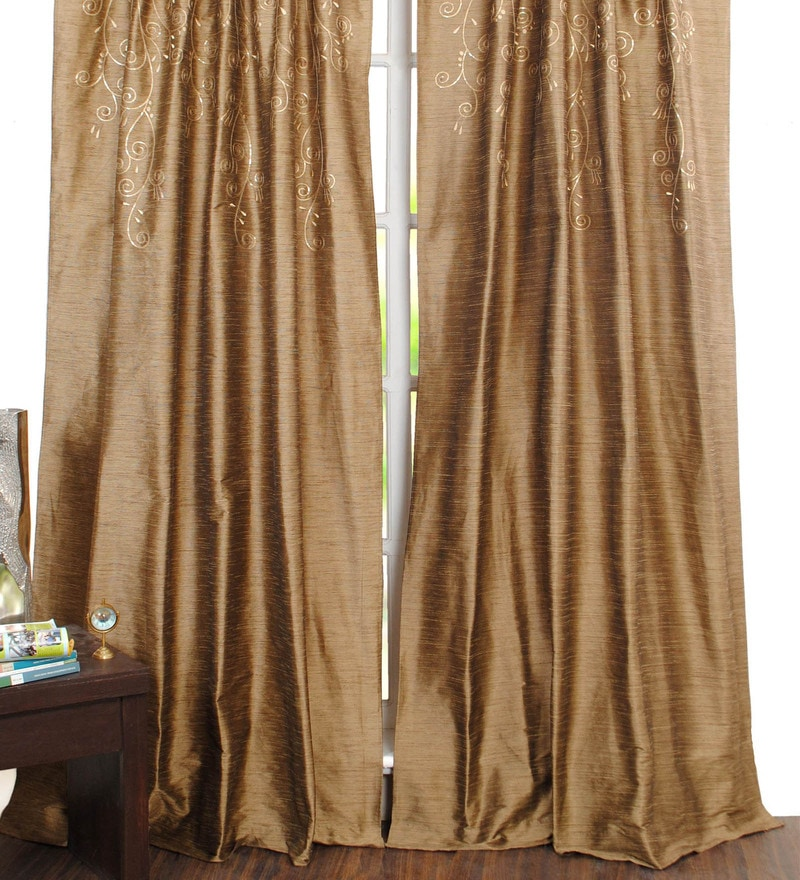 Brown Polyester 50 x 96 Inch Door Curtain - Set of 2 by Deco Window