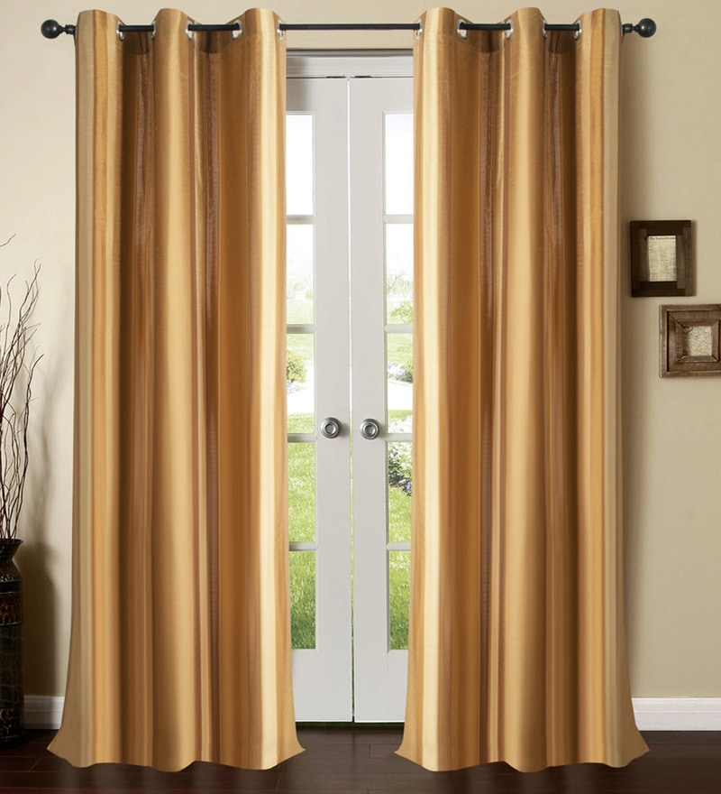Gold Polyester 46 x 90 Inch Door Curtain - Set of 2 by Deco Window