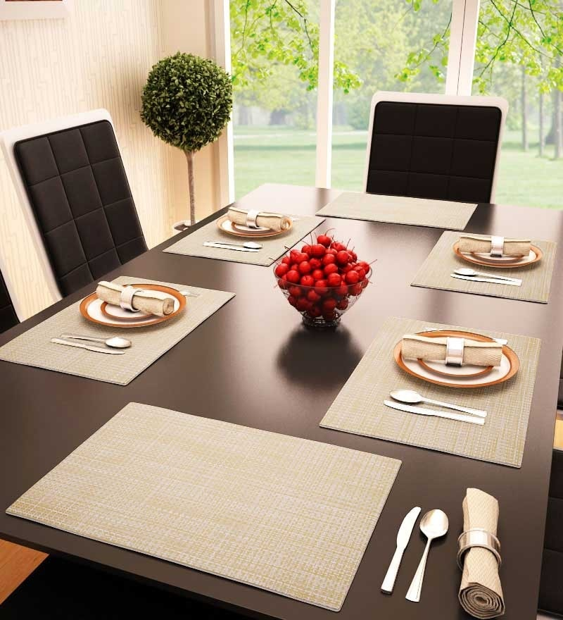 Decorika Beige Colored Reversible Table Mat - Set Of 6 Pcs