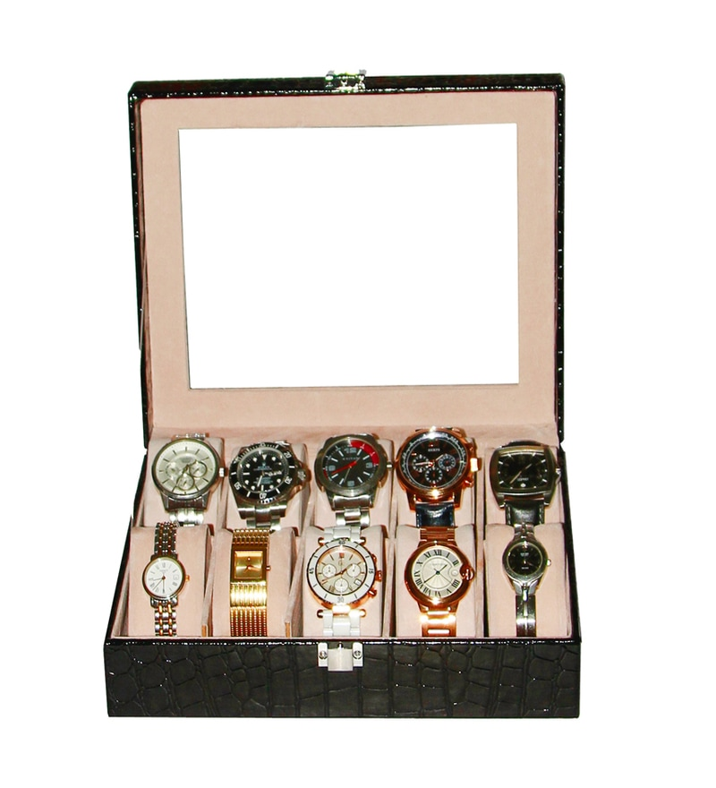 Decorika High Quality Elegant 10 Chamber Wood & Faux Leather Black Watch Organizer