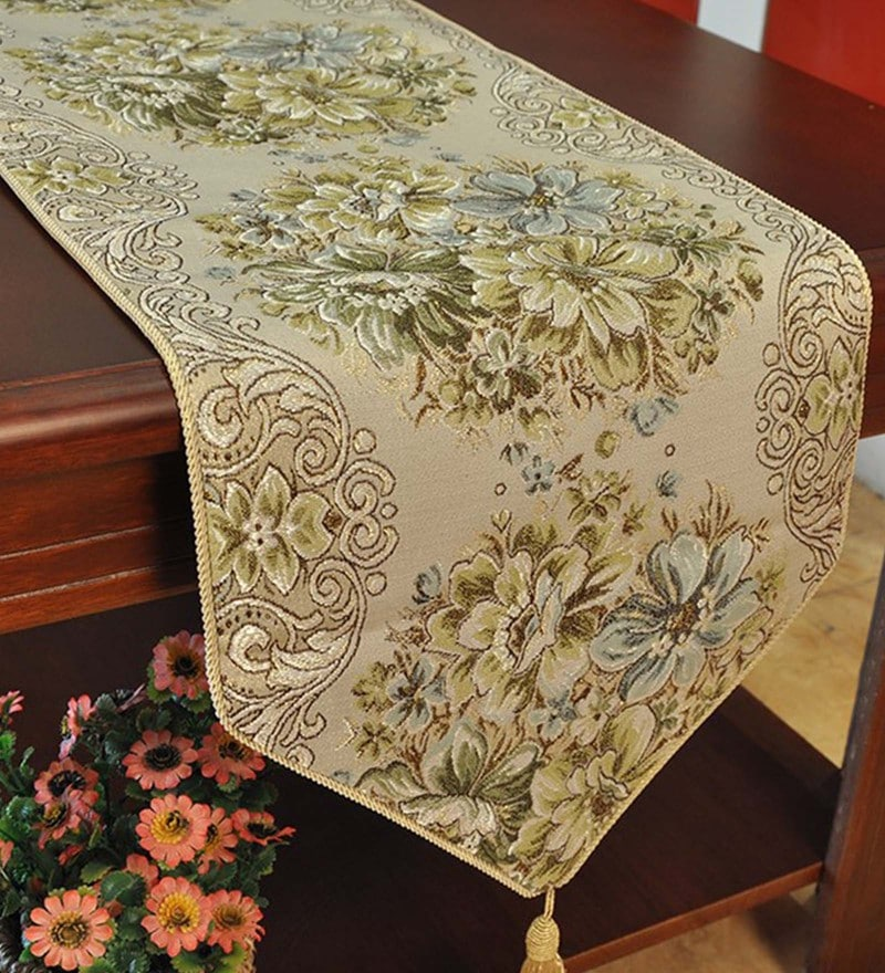 Decorika Pretty Floral Print Green Cotton Table Runner