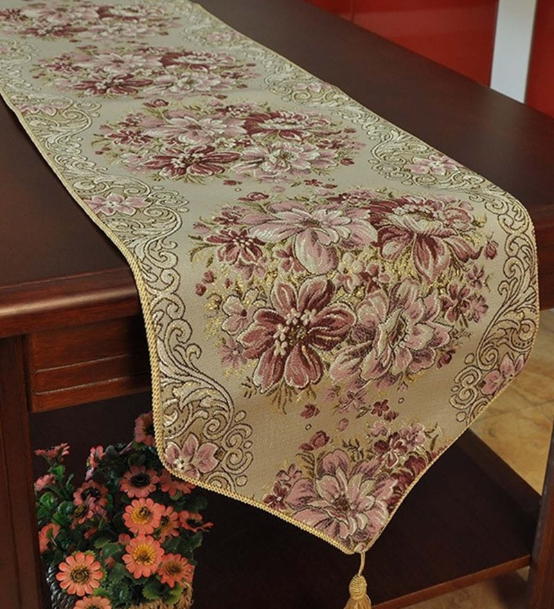 Decorika Pretty Floral Print Purple Cotton Table Runner