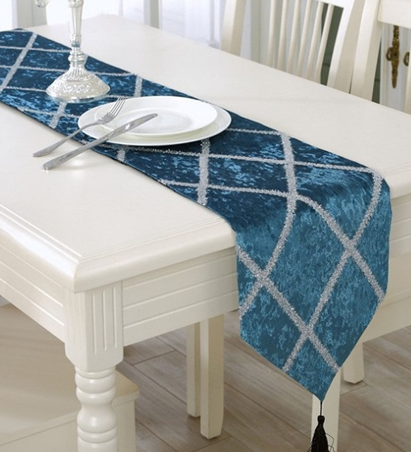 Decorika Pretty Peacock Blue Velvet Table Runner