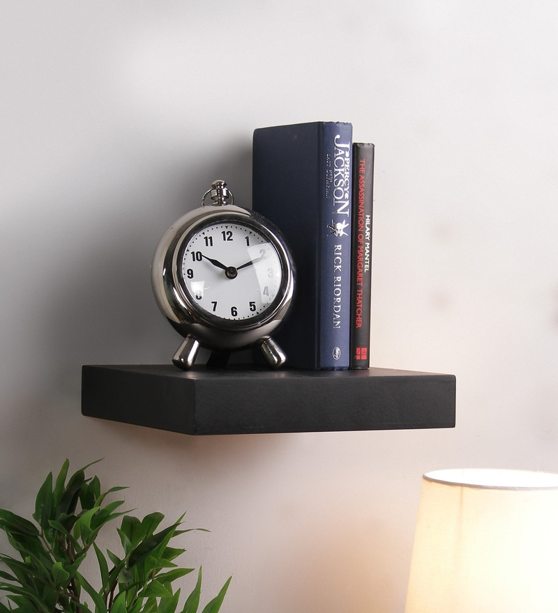 Black MDF Single Flat Floating Wall Shelf by DecorNation