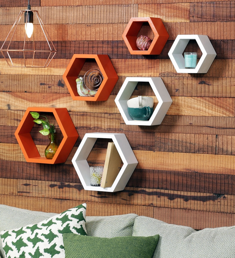 DecorNation Orange & White MDF Hexagon Wall Shelf - Set of 6
