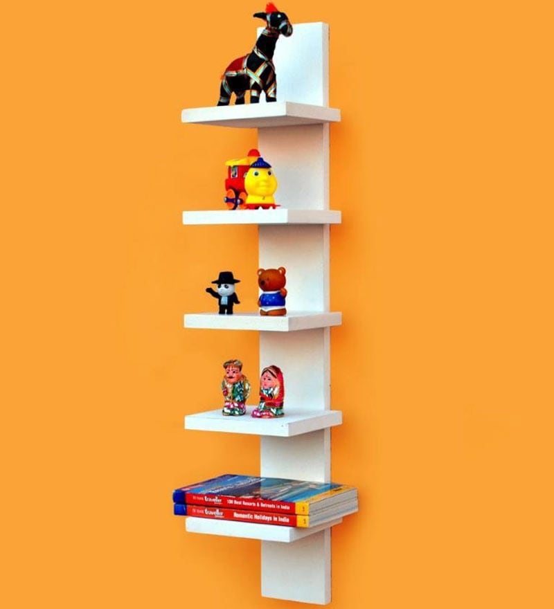 AYMH White Wall Mounting 5 Tier Durable Shelf