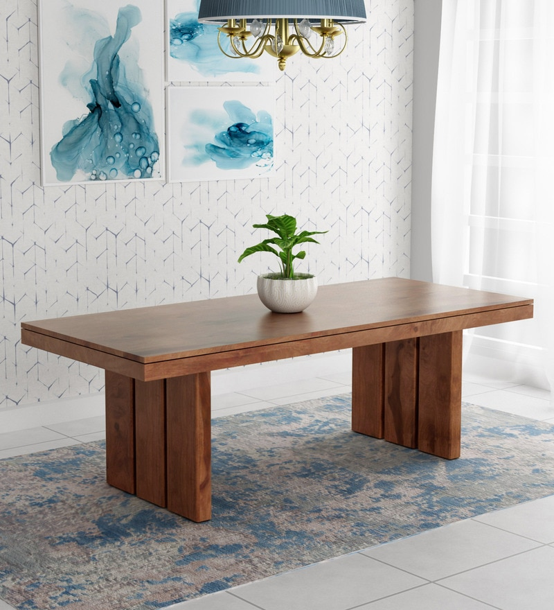 bec2225221 Delmonte Solid Wood Eight Seater Dining Table with Walnut Finish by @home