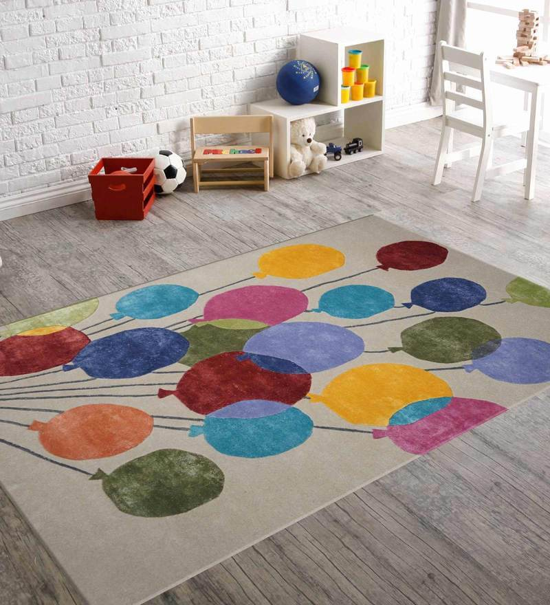 Indian Hand Made Floor Carpet Tufted Kids Baloon Design by Designs View