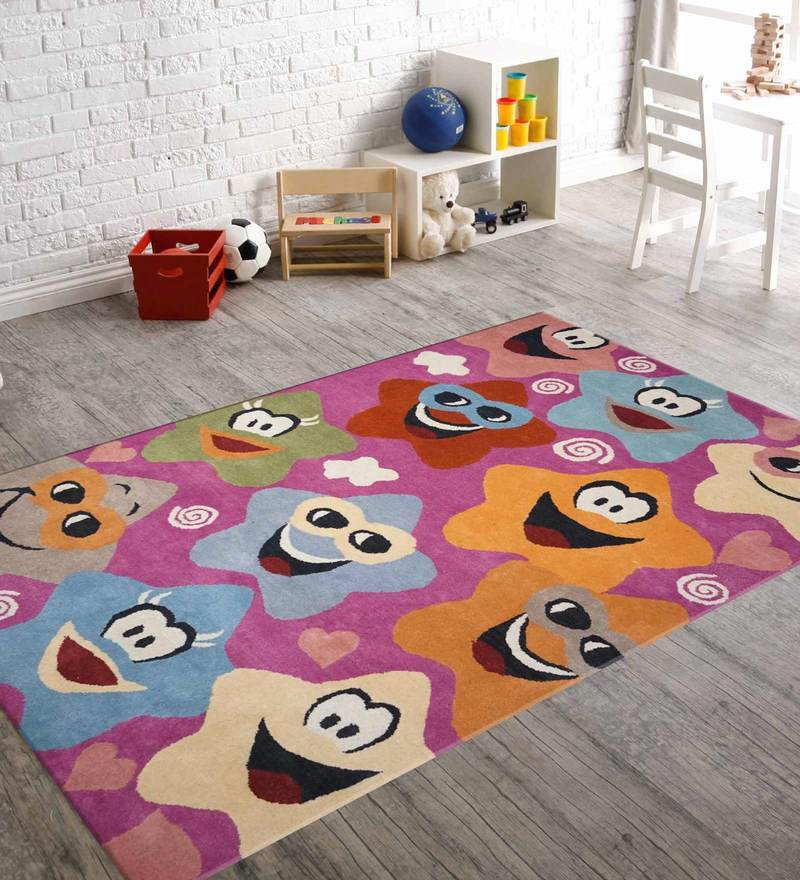Indian Hand Made Floor Carpet Tufted Kids Pink Star Design by Designs View