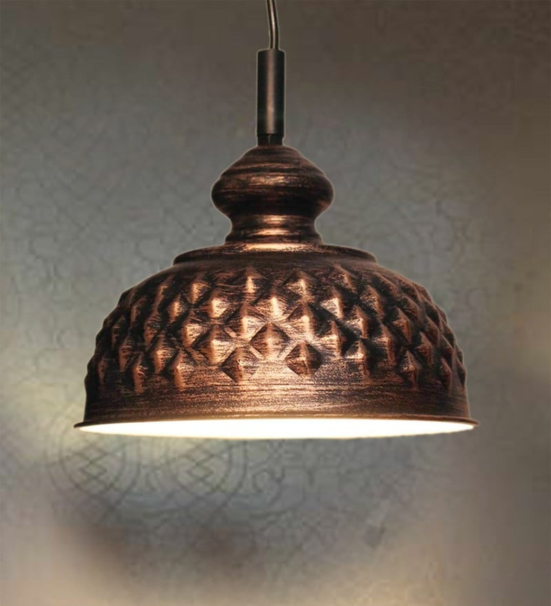 Black Iron Diamond Design Pendant by Design Villa