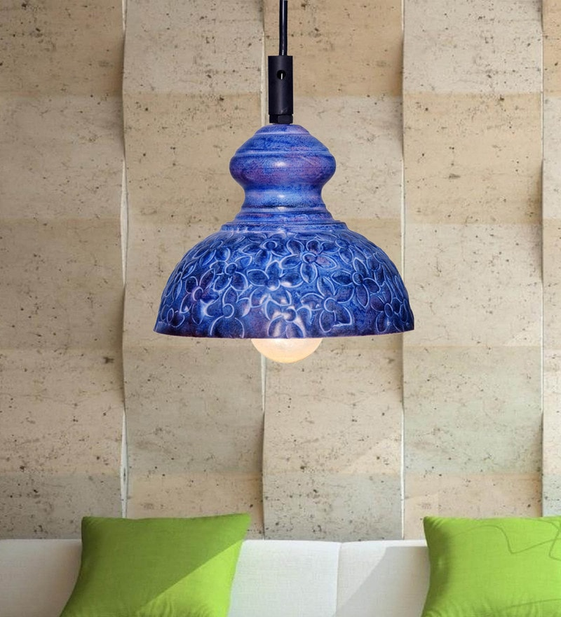 Blue Iron Flower Pendant by Design Villa