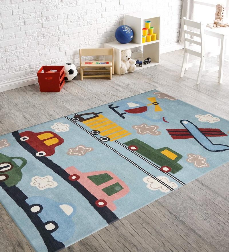 Blue Woolen Rectangular Kids Carpet by Designs View