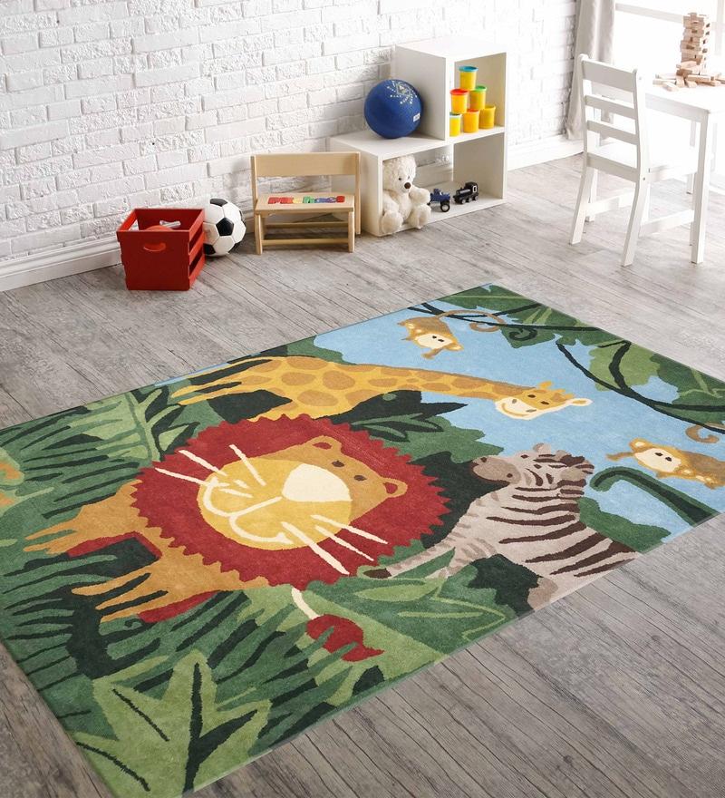 Green Woolen Rectangular Jungle Kids Carpet by Designs View