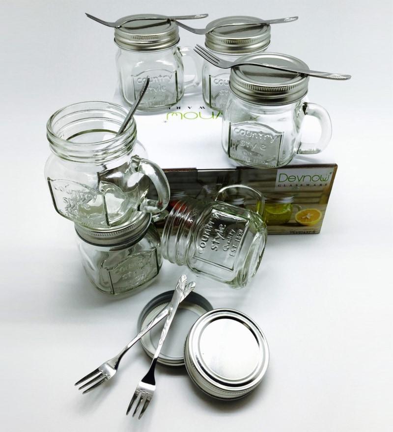 Devnow Glass 250 ML Dessert Jars with Lid & Fork - Set of 6