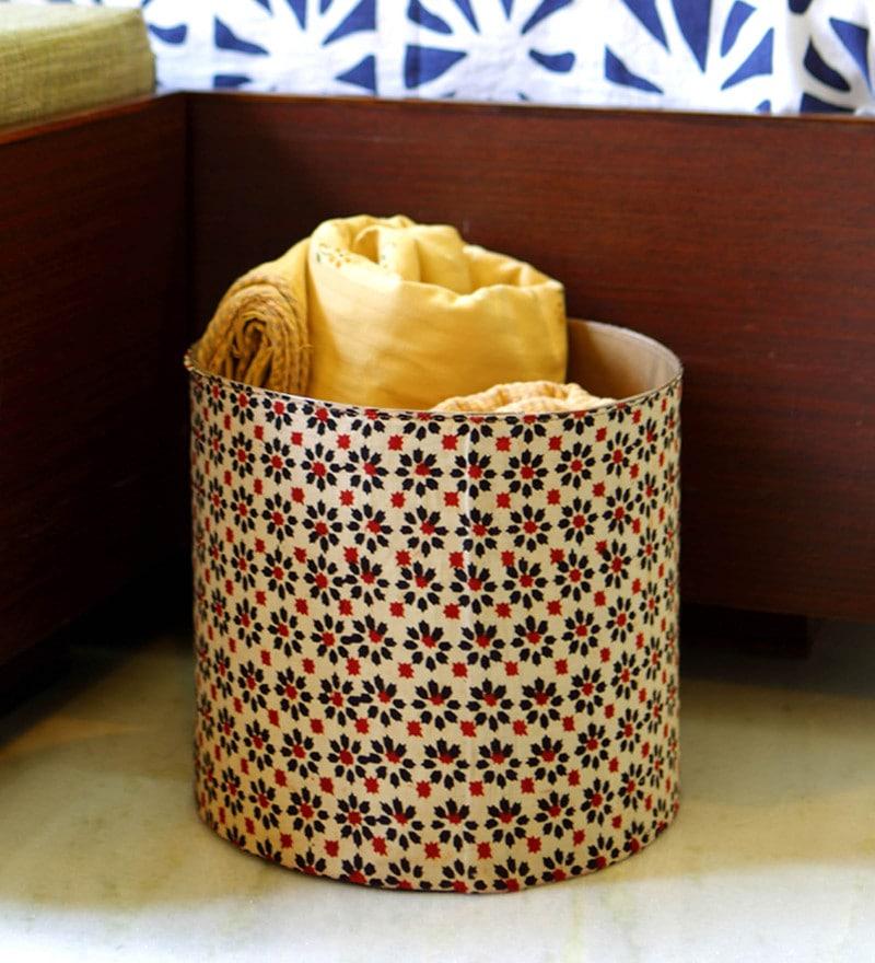 Deziworkz Floral Handcrafted Fabric & Plastic 20 L Multicolour Laundry Basket