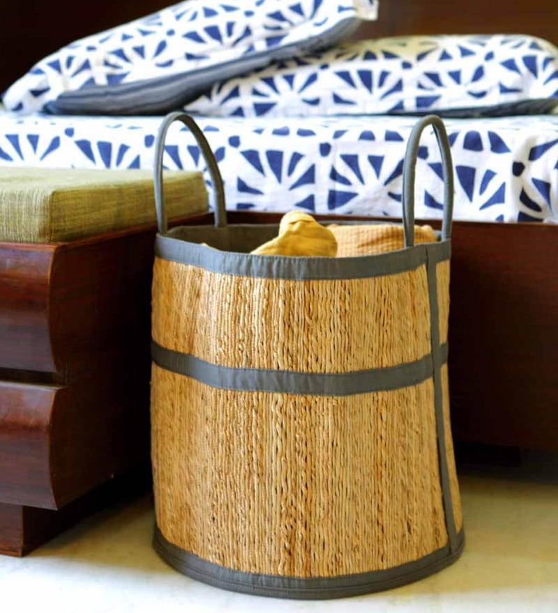 Deziworkz Handcrafted Small Jute 35 L Grey Laundry Basket