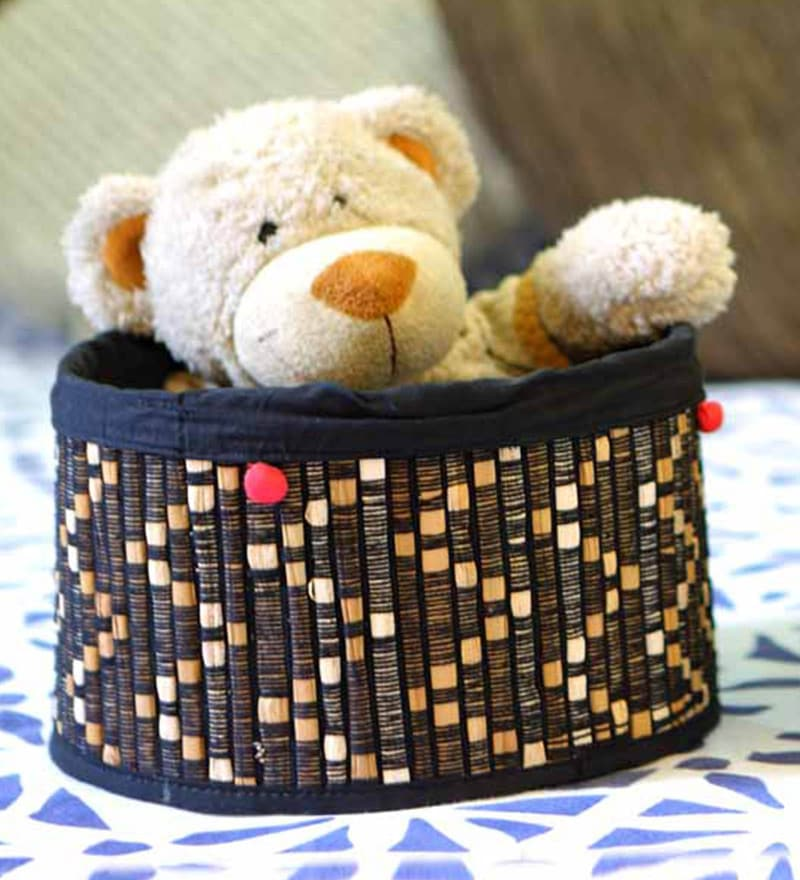 Deziworkz Large Jute Black Handcrafted Round Deep Basket