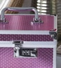Decotrend Aluminium Pink Striped Vanity Case