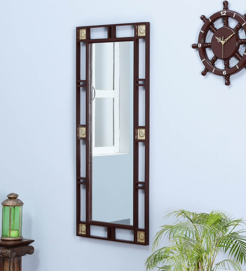 Natural Pine Wood & Brass Rajputana Handcrafted Full Length Mirror by DHI
