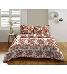 Dicitex Floral Multicolour 100% Cotton King Bed Sheet (with Pillow Covers) - Set Of 3
