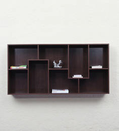 Wall Shelf In Walnut Finish By Woodfurn