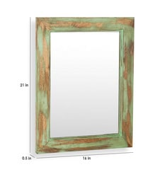 Distress Green Solid Wood & Glass Cambrian Mirror