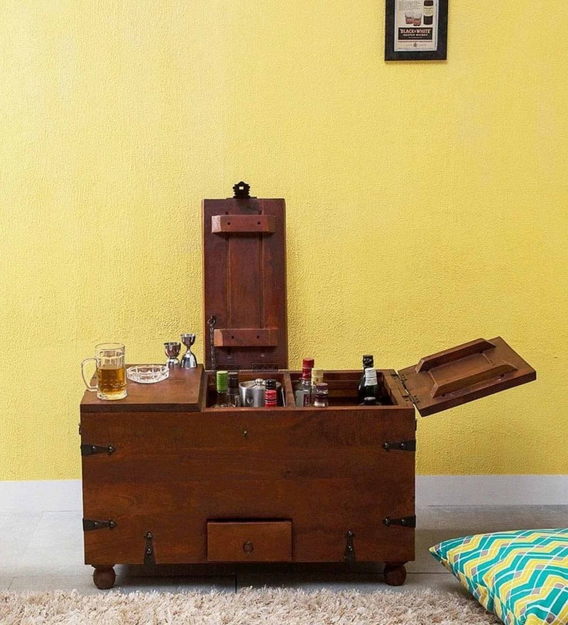 Didcot Bar Cabinet in Honey Oak Finish by Amberville
