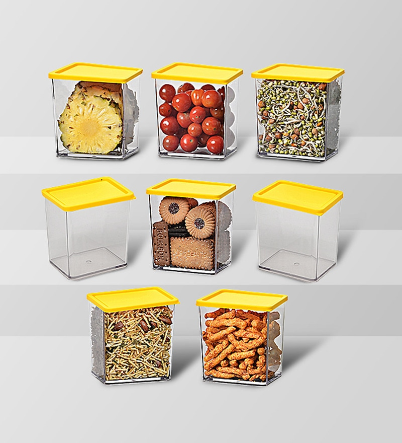 Disha Yellow 600 ML (Each) Storage Container - Set of 8