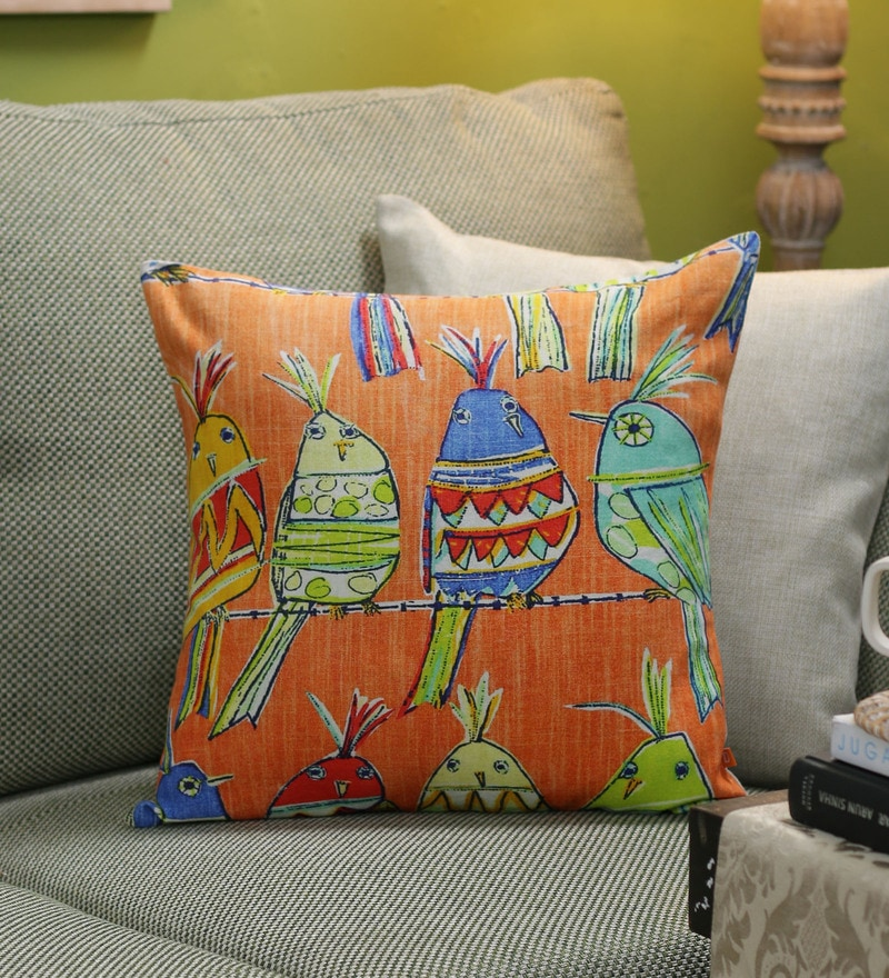 Multicolour Cotton 16 x 16 Inch Retro Birds Cushion Cover by Diwa Home