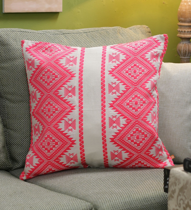 Neon Pink Cotton 20 x 20 Inch Pillow Me Cushion Cover by Diwa Home