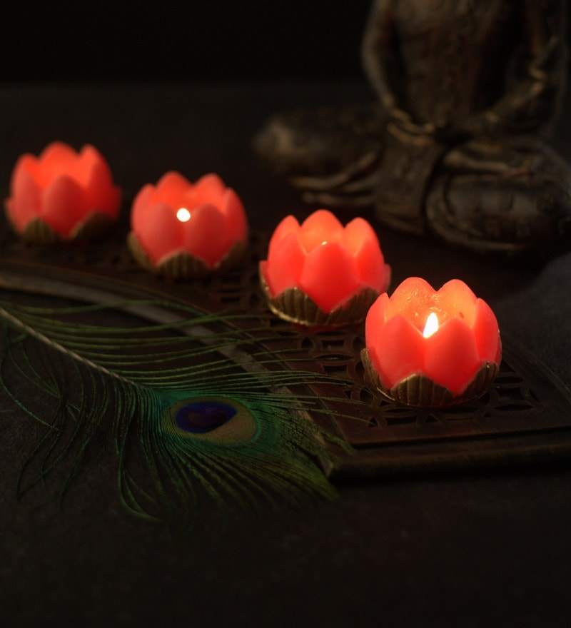 Diwali Gift Orange Lotus Candle by Orlando's Decor