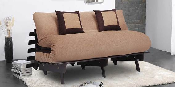 Double Futon With Mattress And 2 Cushions In Light Dark Brown Colour