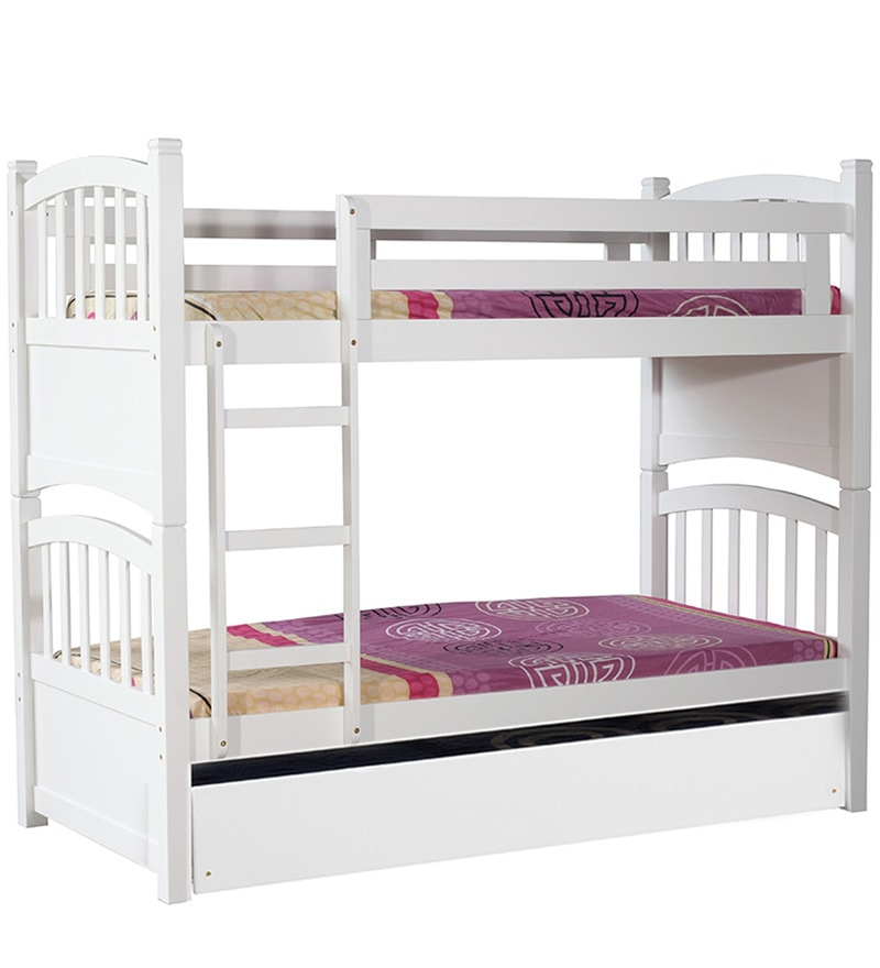 Buy Mclamar Kids Bunk Bed With Pull Out In White Finish By