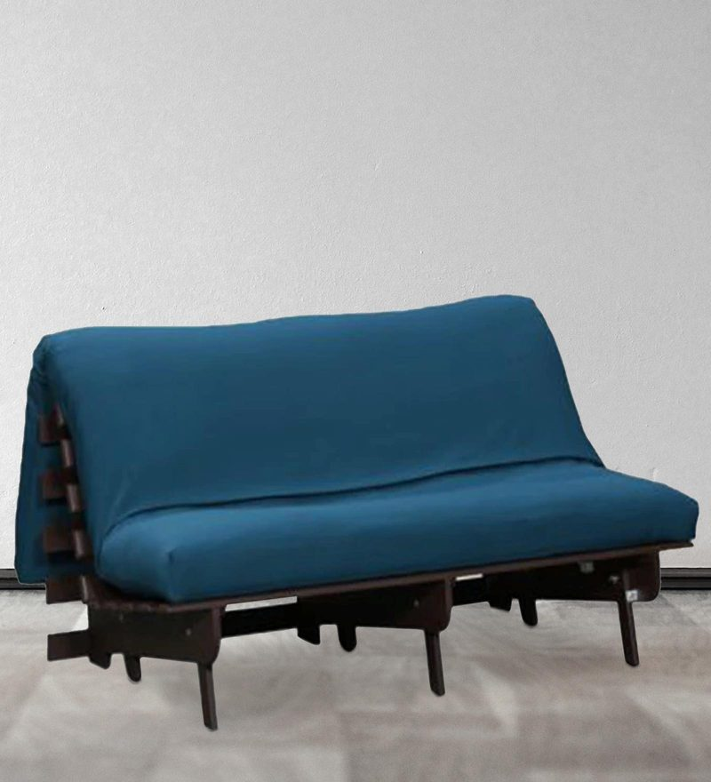 Double Futon with Mattress in Blue Colour by Auspicious Home