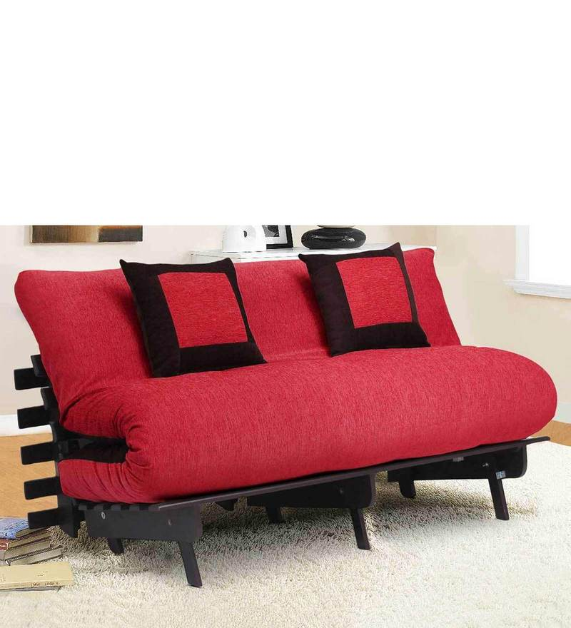 Double Futon with Two Pillows in Red & Brown Colour by Auspicious Home