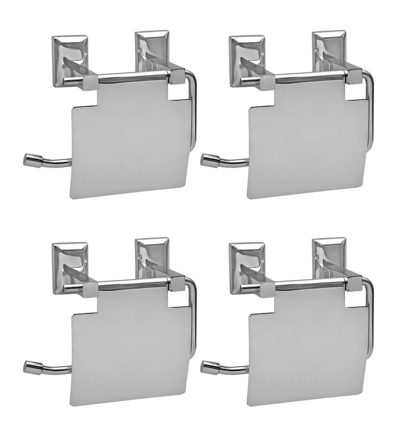 Doyours Glossy Stainless Steel 5.3 x 5.7 x 3.1 Inch Toilet Paper Holder - Set of 4