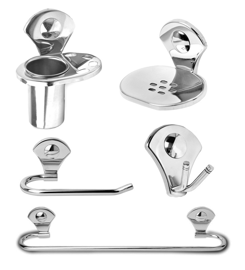 Doyours Glossy Stainless Steel 5-piece Bathroom Accessories Set