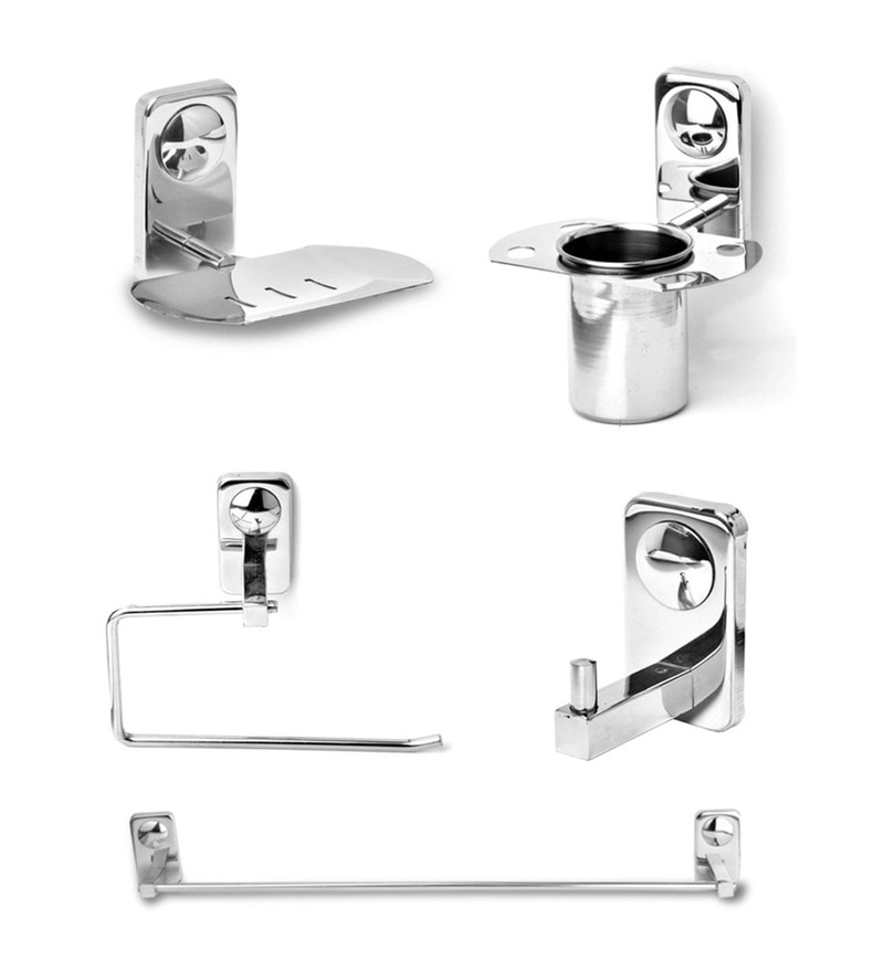 Doyours Glossy Stainless Steel 5-piece Bathroom Fixture Set