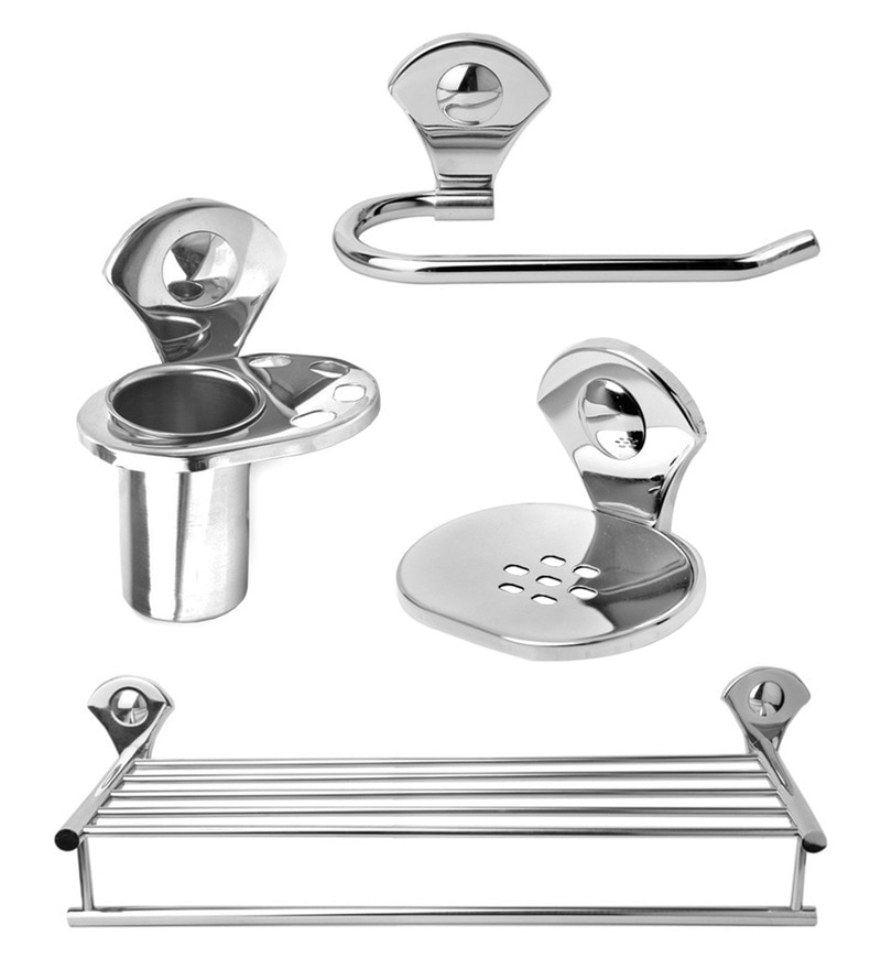 Doyours Glossy Stainless Steel 4-piece Bathroom Accesories Set
