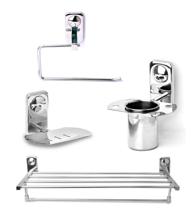 Doyours Glossy Stainless Steel 4-piece Bathroom Fixture Set