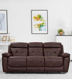 Dream Three Seater Motorized Recliner In Brown Leather